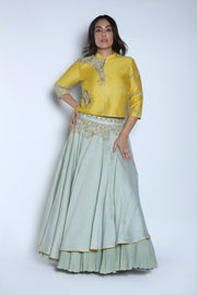 Nautanky - Yellow & Blue Layered Lehenga Set - INDIASPOPUP.COM