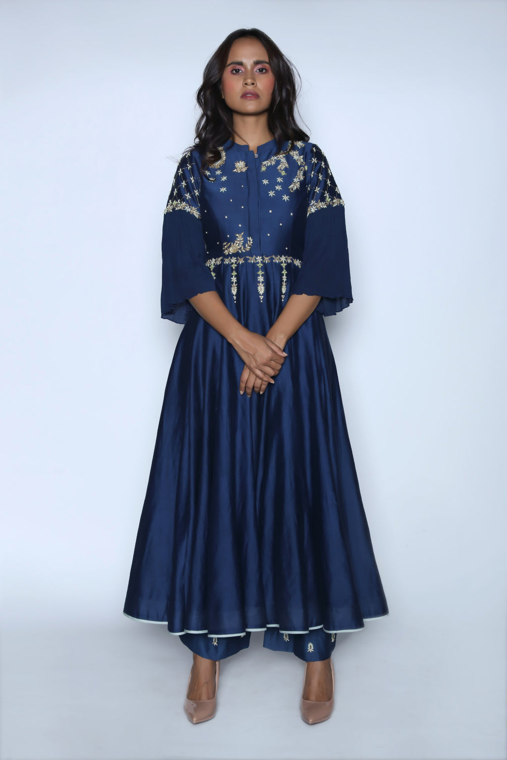 Midnight Blue Anarkali With Trouser