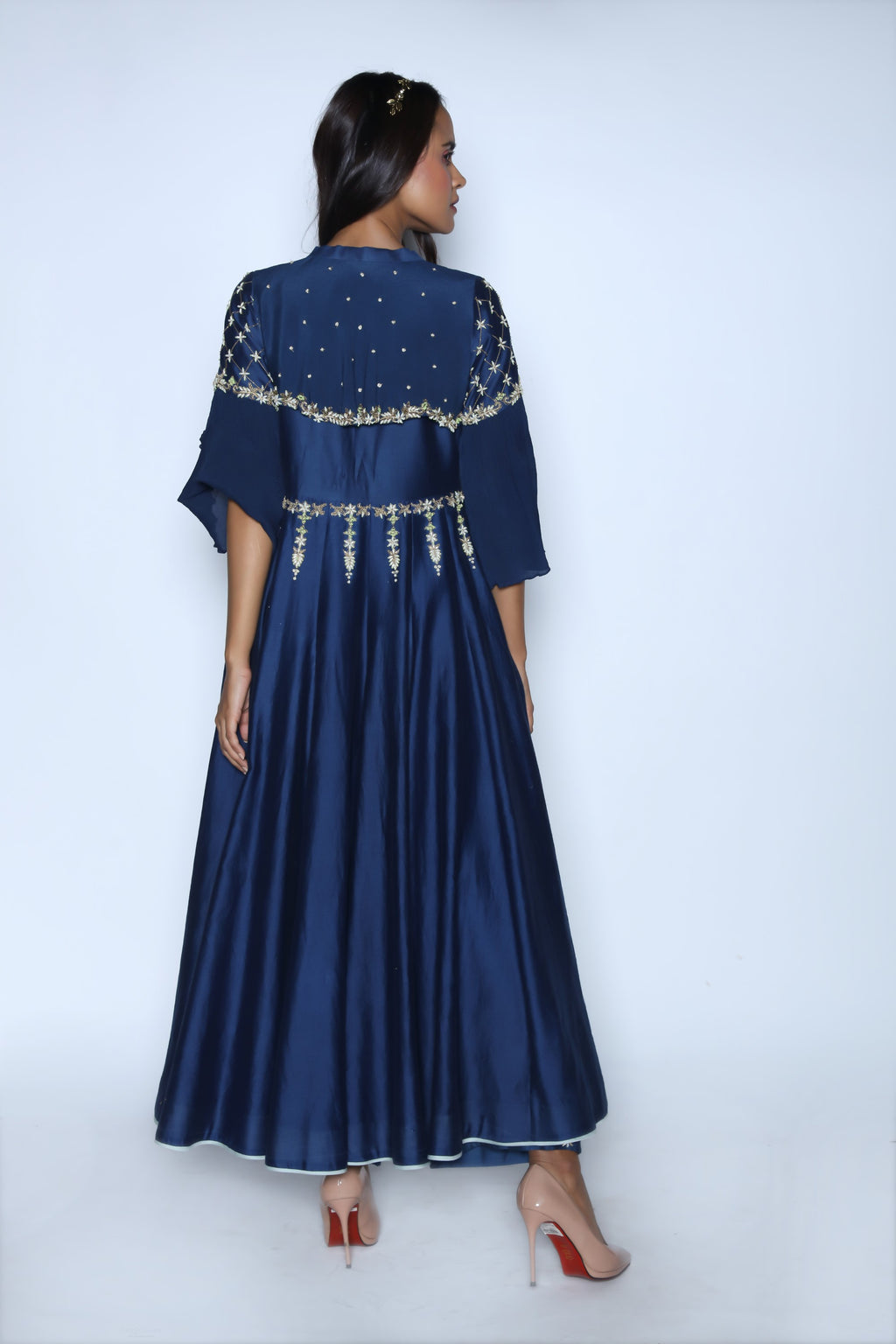 Nautanky - Midnight Blue Anarkali With Trouser - INDIASPOPUP.COM