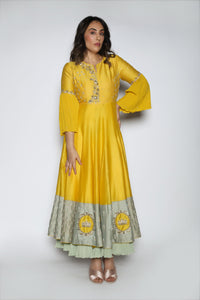 Nautanky - Yellow Embroidered Kalidaar Gown - INDIASPOPUP.COM