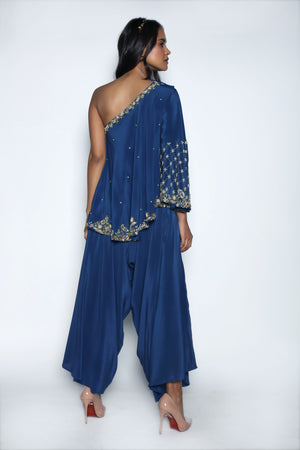 Nautanky - Midnight Blue Top With Drape Pants - INDIASPOPUP.COM
