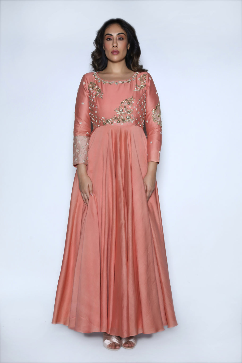 Dusty Rose Embroidered Gown
