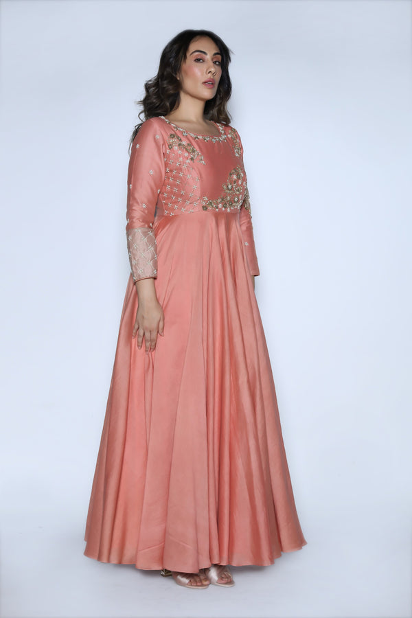 Nautanky - Dusty Rose Embroidered Gown - INDIASPOPUP.COM