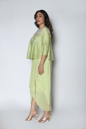 Nautanky - Mint Crop Top With Dhoti Skirt - INDIASPOPUP.COM