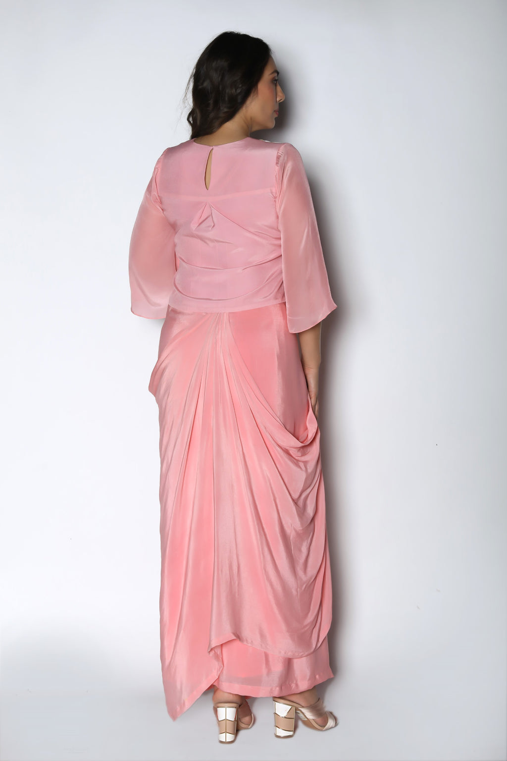 Nautanky - Baby Pink Crop Top With Drape Skirt - INDIASPOPUP.COM