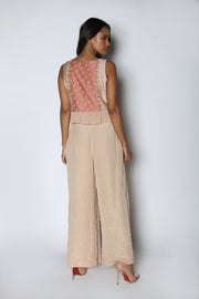 Nautanky - Beige Crop Top With Pleated Pants - INDIASPOPUP.COM