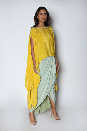 Nautanky - Yellow Kaftan With Blue Dhoti Skirt - INDIASPOPUP.COM
