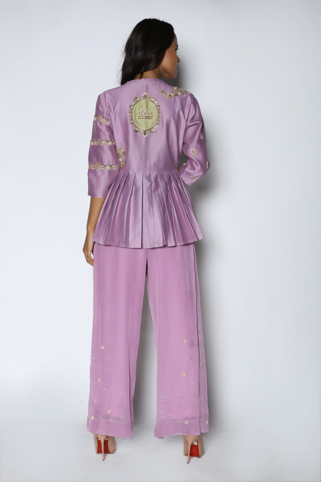 Lilac Pleated Peplum With Pants