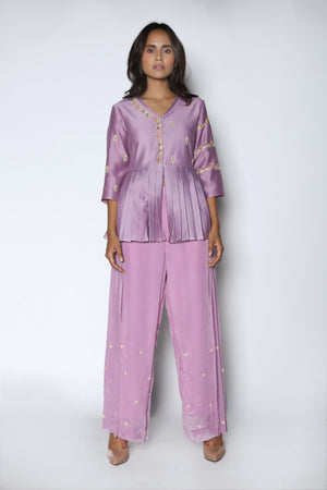 Nautanky - Lilac Pleated Peplum With Pants - INDIASPOPUP.COM
