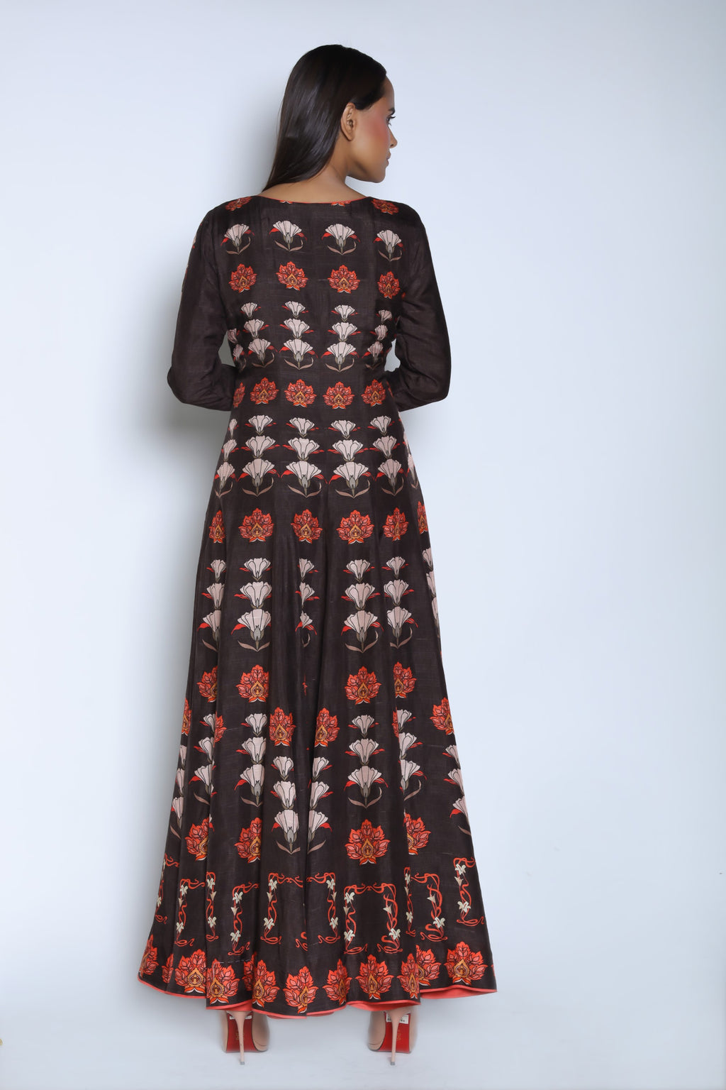 Nautanky - Chocolate Brown Anarkali Set - INDIASPOPUP.COM