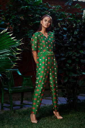 Nautanky - Dark Green Crop Top & Pants - INDIASPOPUP.COM