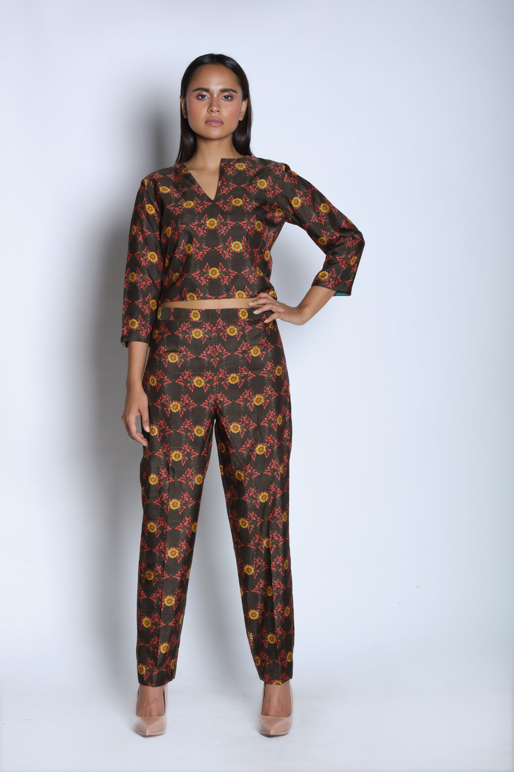 Nautanky - Brown & Yellow Crop Top & Pants - INDIASPOPUP.COM