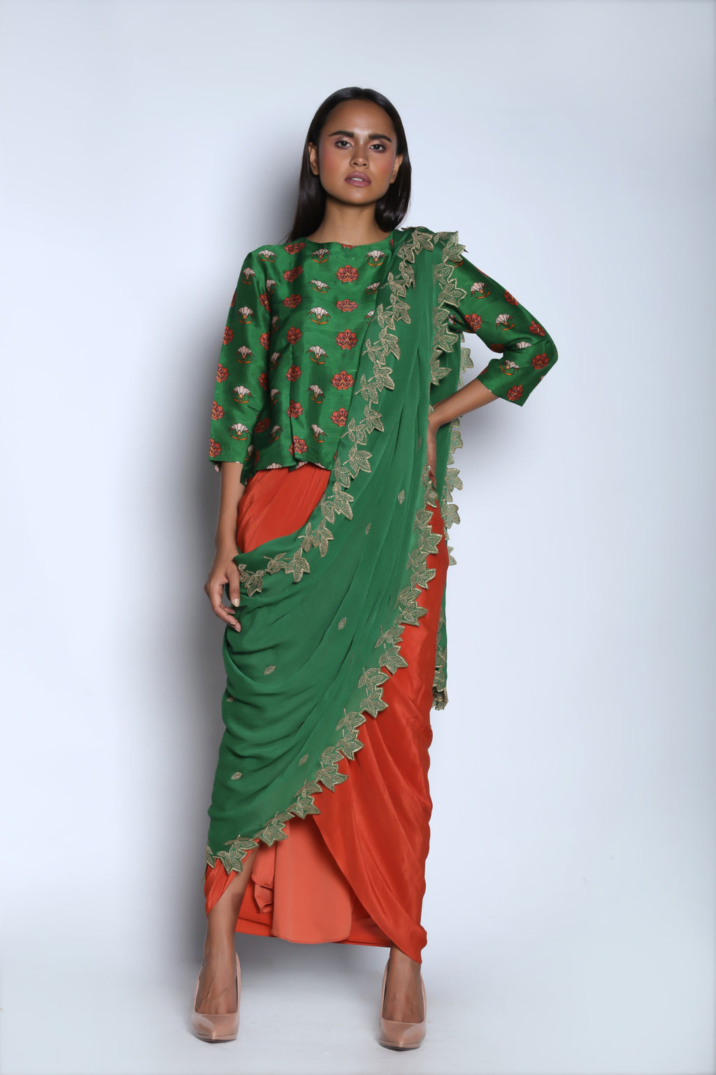 Nautanky - Dark Green & Orange Ruffle Skirt Set - INDIASPOPUP.COM