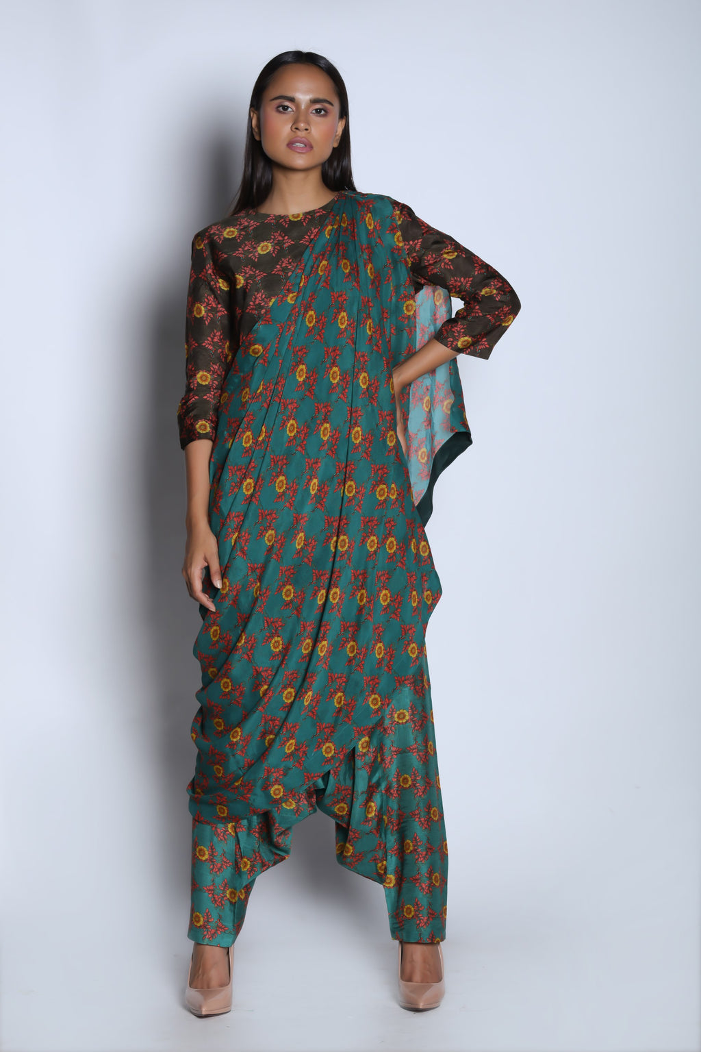 Nautanky - Brown & Teal Green Top With Pants - INDIASPOPUP.COM