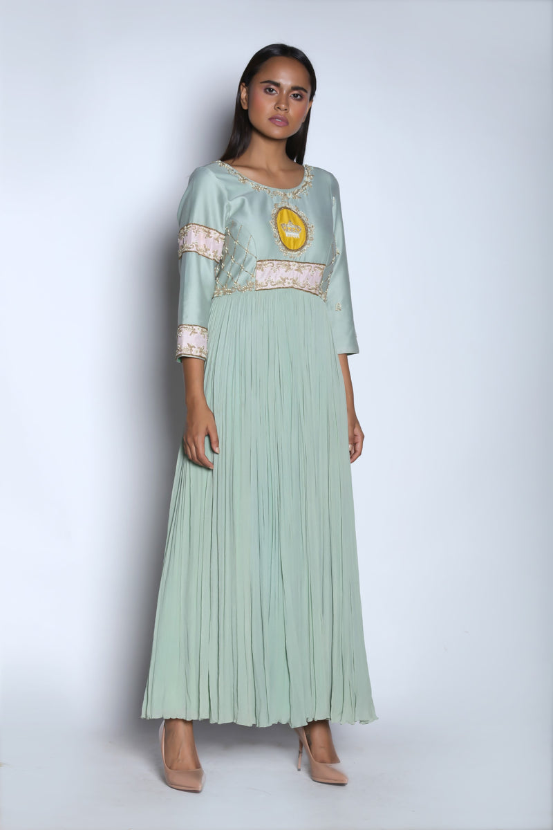 Nautanky - Blue Embroidered Gathered Gown - INDIASPOPUP.COM