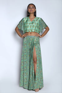 Nautanky - Mint Green Crop Top With Slit Skirt - INDIASPOPUP.COM