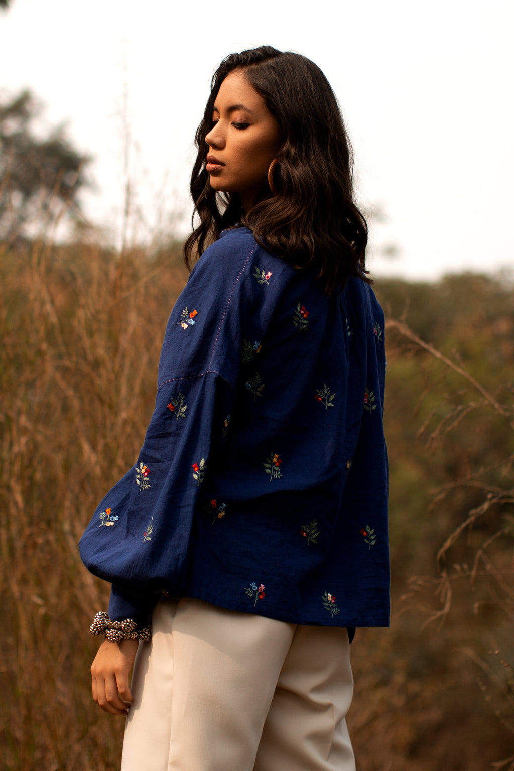 Payal Pratap-Navy Blue Embroidered Top-INDIASPOPUP.COM