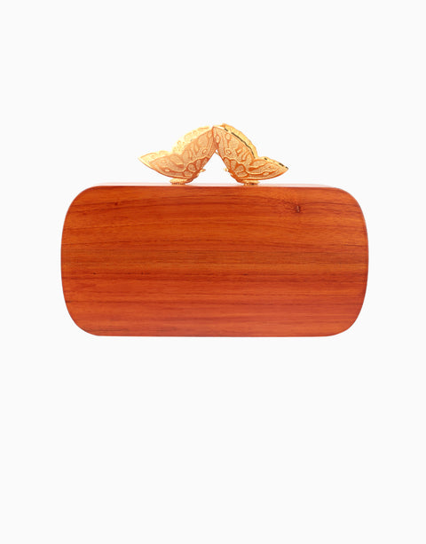Duet Luxury - Red Wood Evening Clutch - INDIASPOPUP.COM