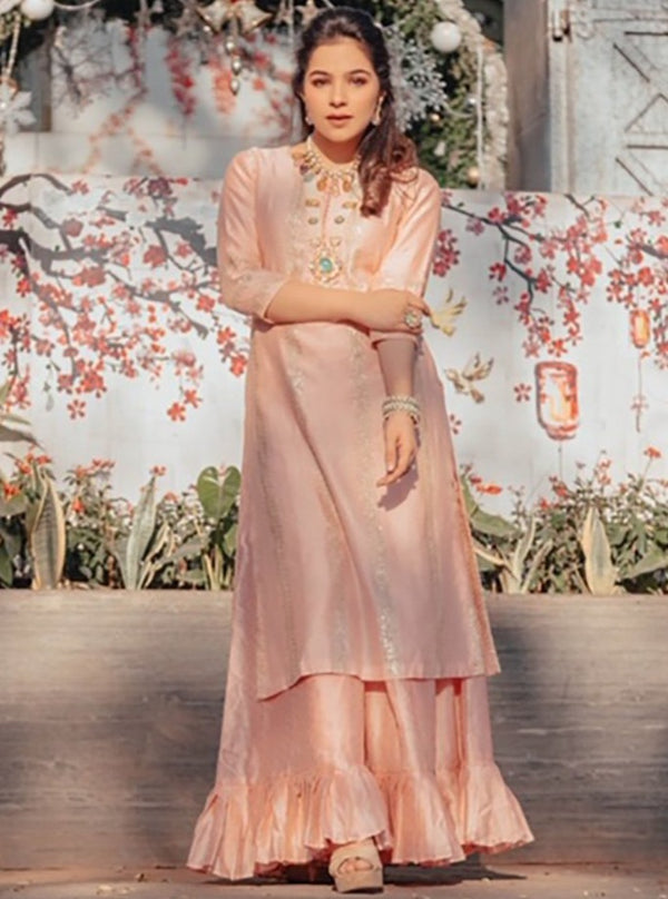 Pink City-Pink Straight Kurta With Sharara-INDIASPOPUP.COM
