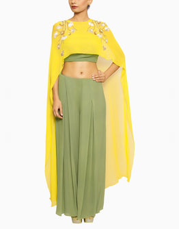 Olive Green  Crop Top and Pants Set with cape