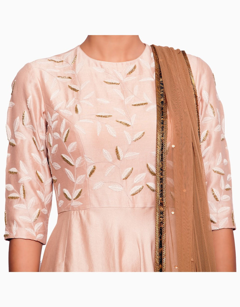 Salt And Spring - Blush Pink  Leaf Motif Anarkali - INDIASPOPUP.COM