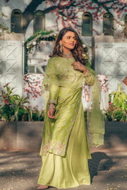 Pink City-Green Sharara Set With Gota Mor Motifs-INDIASPOPUP.COM