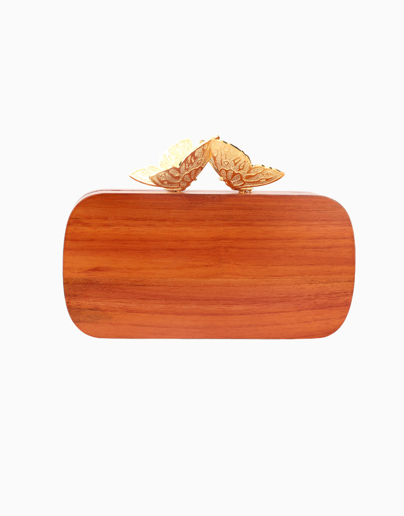 Duet Luxury - Red Bee Wood Evening Clutch - INDIASPOPUP.COM