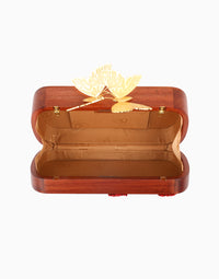 DUET LUXURY RED BEE WOOD EVENING CLUTCH