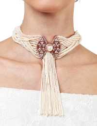 Outhouse-Rose Gold Regina Pearl Collared Choker-INDIASPOPUP.COM