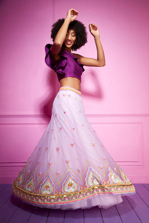 Siddhartha Bansal-Purple Embroidered Net Skirt-INDIASPOPUP.COM