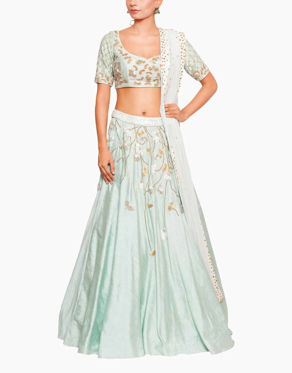 SALT AND SPRING SEA GREEN LEAF MOTIF ANARKALI
