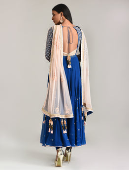 Moroccan Blue Embroidered Anarkali Set