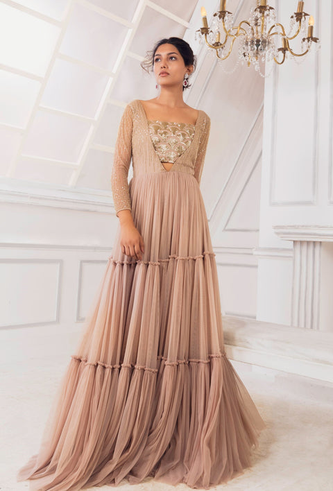 Charu & Vasundhara-Rose Pink Embroidered Net Gather Gown-INDIASPOPUP.COM