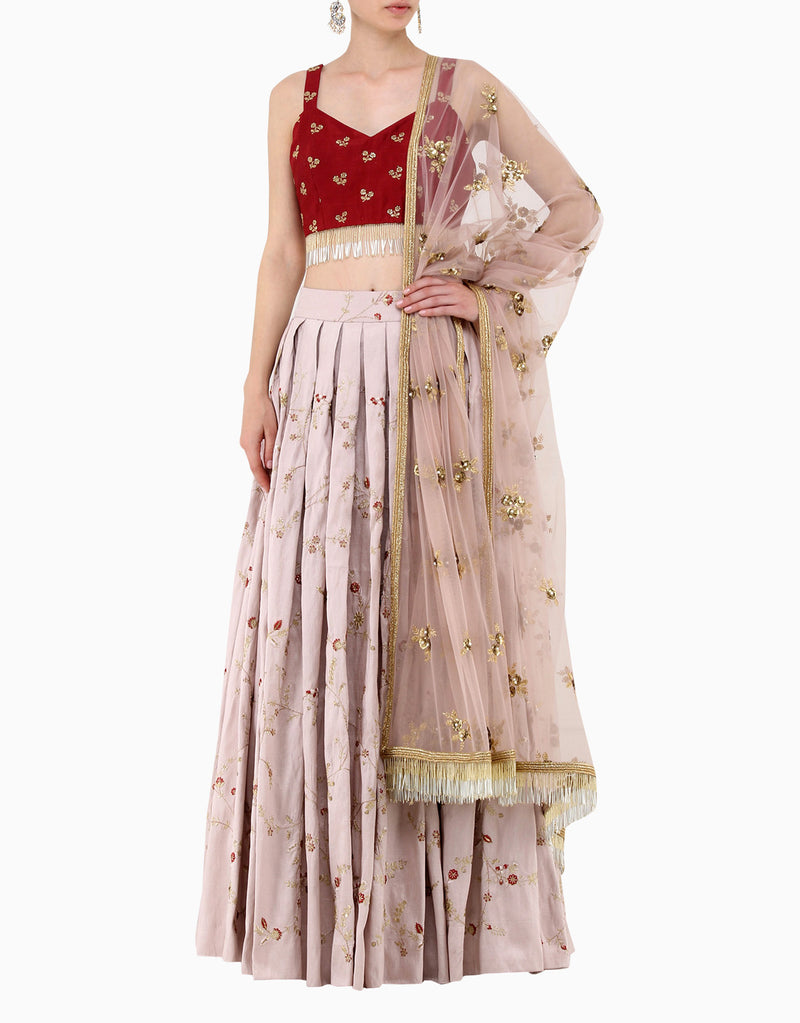 Amaira - Wine & Lilac Embroidered Lehenga Set - INDIASPOPUP.COM