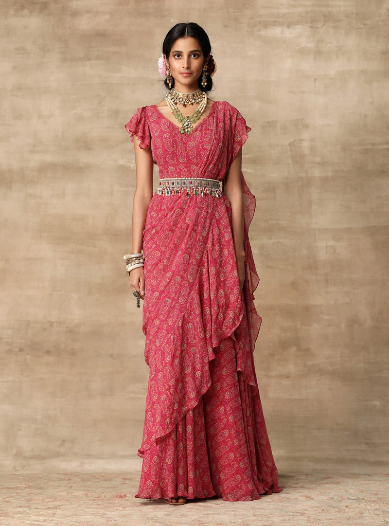 Ridhi Mehra-Berry Pink Saree Gown With Ruffle Drape & Belt-INDIASPOPUP.COM