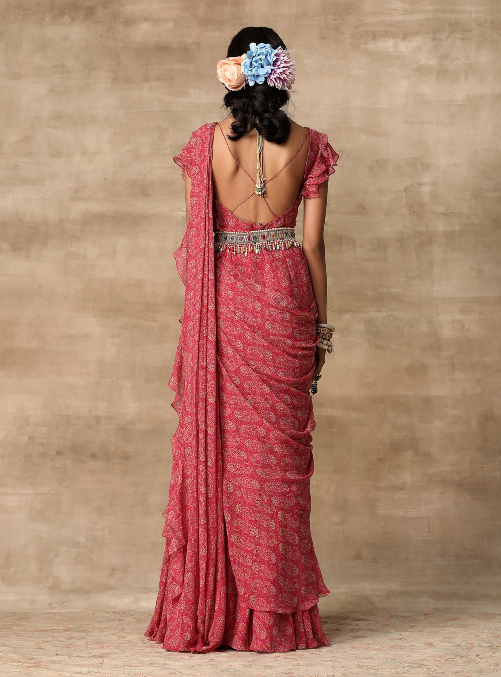 Berry Pink Saree Gown With Ruffle Drape & Belt