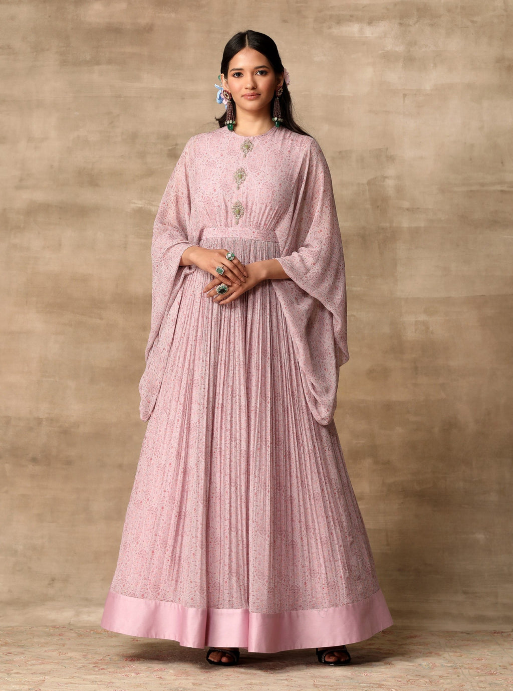 Lilac Anarkali With Embroidered Buttons