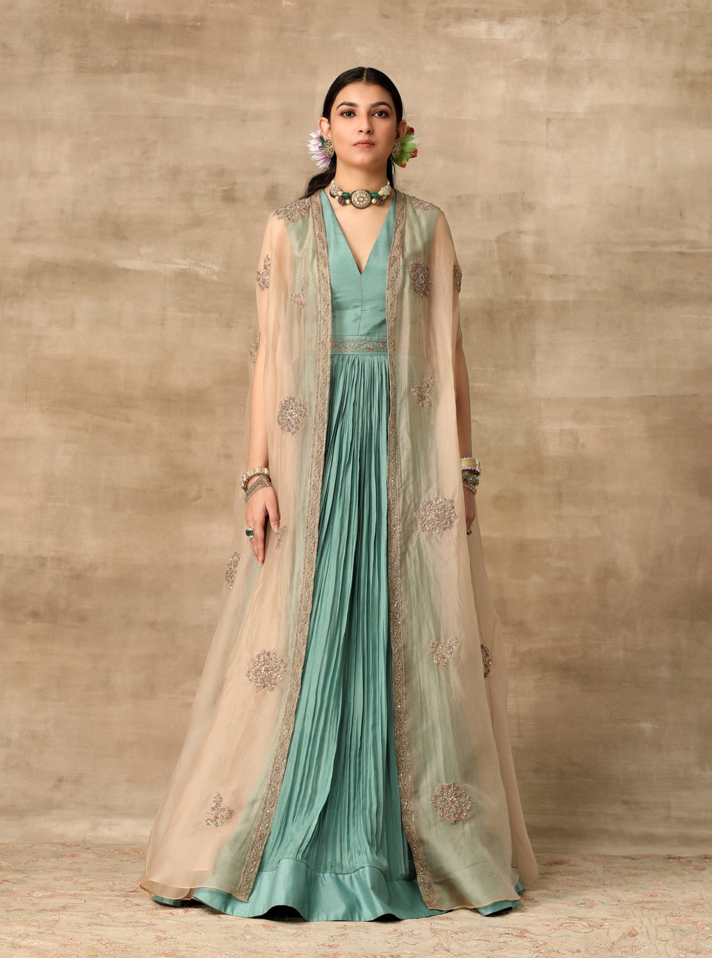 Teal Rushed Anarkali Paired With Cape