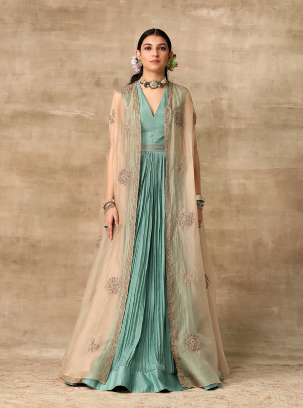 Ridhi Mehra-Teal Rushed Anarkali Paired With Cape-INDIASPOPUP.COM
