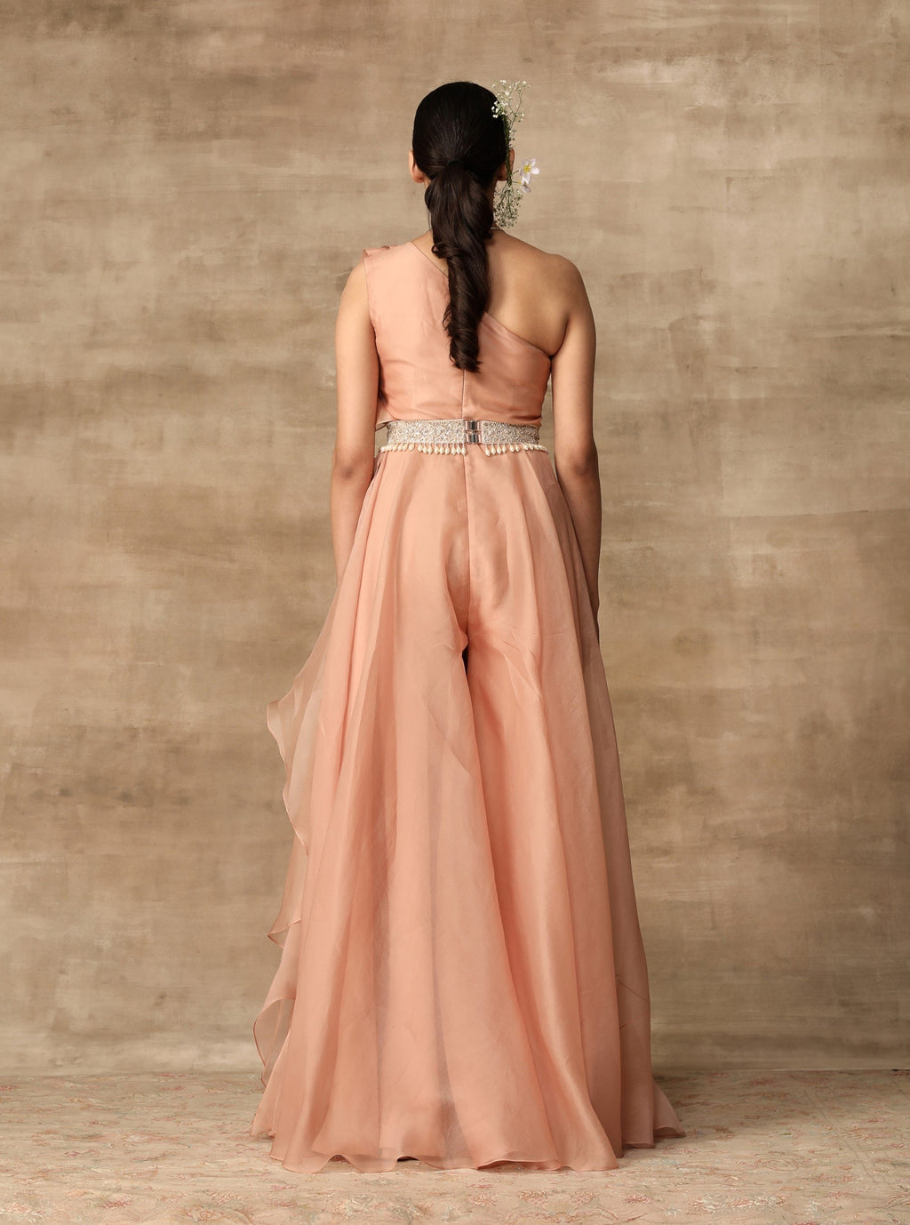 Peach Ruffle Draped Jumpsuit With Belt