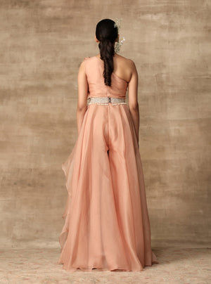 Ridhi Mehra-Peach Ruffle Draped Jumpsuit With Belt-INDIASPOPUP.COM