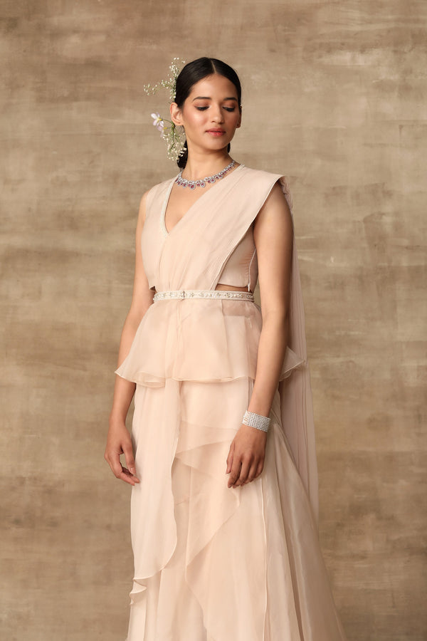 Ridhi Mehra-Dirty Ivory Pearl Blouse & Saree With Belt-INDIASPOPUP.COM
