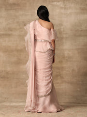 Ridhi Mehra-Blush Pink Peplum & Saree With Belt-INDIASPOPUP.COM