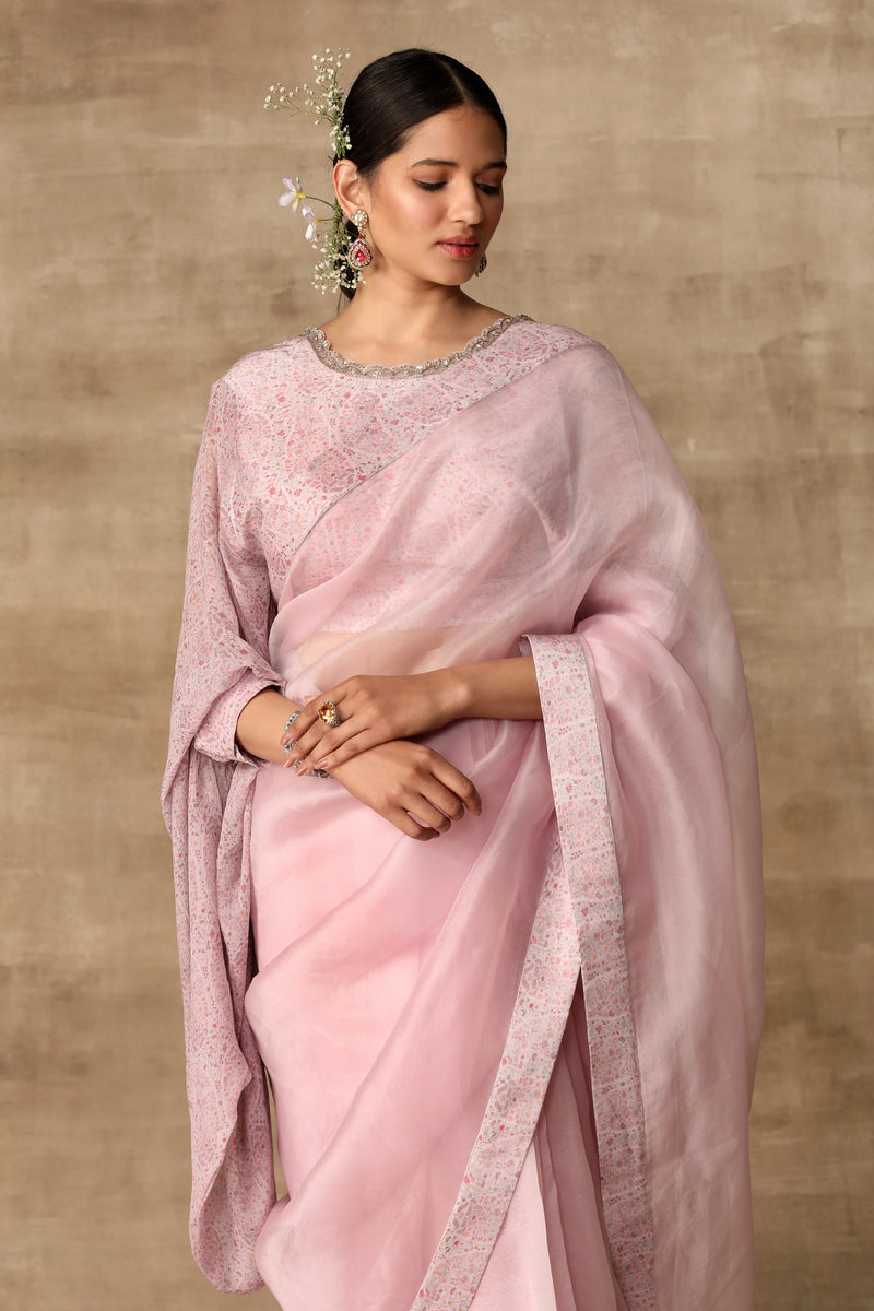 Ridhi Mehra-Lilac Blouse With Saree & Belt-INDIASPOPUP.COM