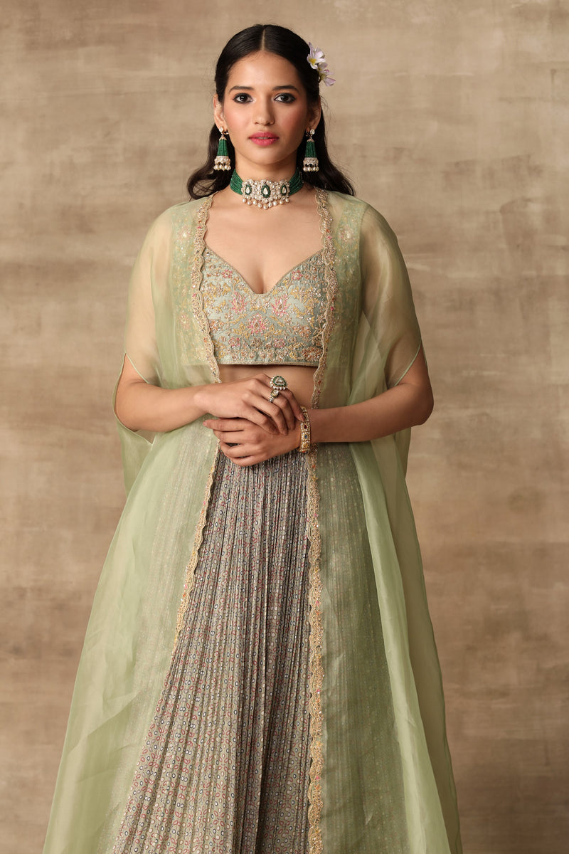 Ridhi Mehra-Apple Green Blouse & Skirt With Cape-INDIASPOPUP.COM
