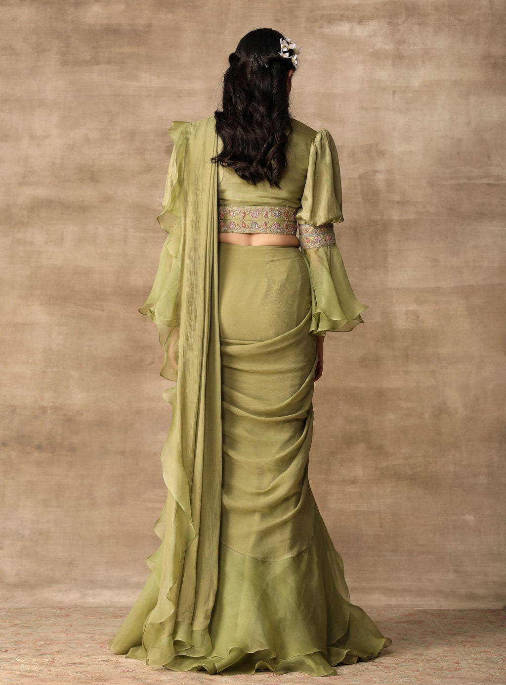 Apple Green Blouse With Attached Belt & Saree