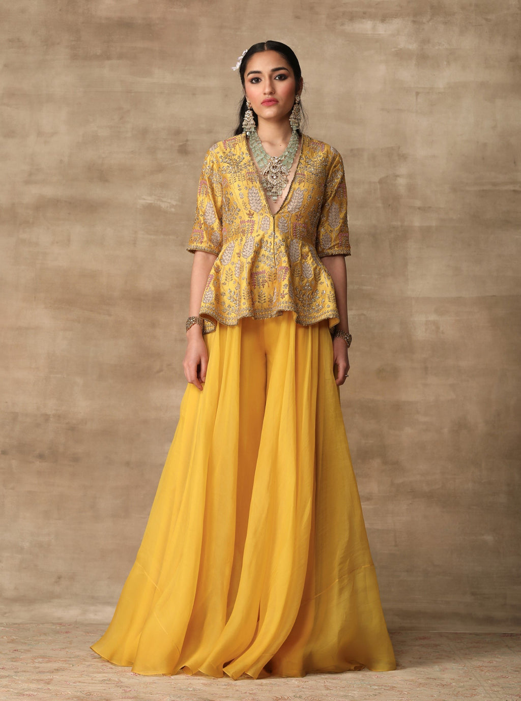 Ridhi Mehra-Canary Yellow Peplum With Sharara-INDIASPOPUP.COM