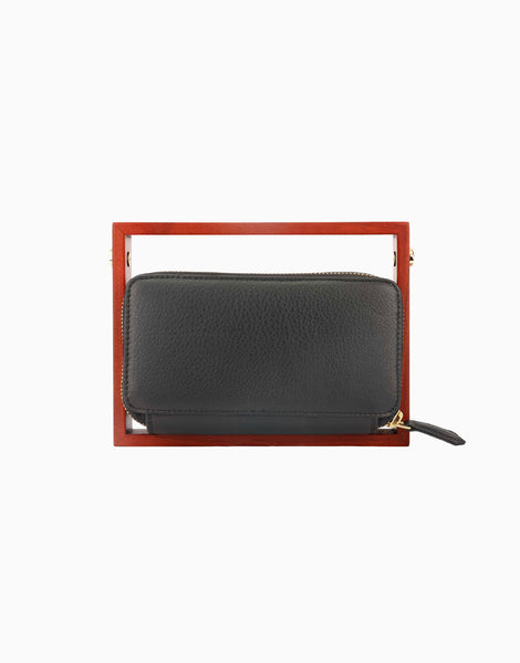 Black Wood Rectangle Clutch