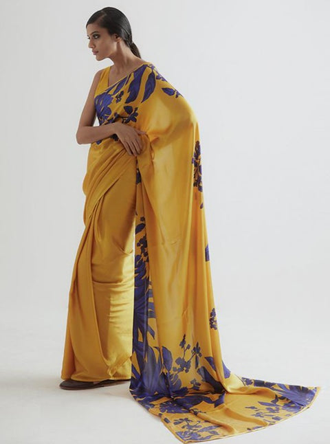 Kshitij Jalori-Palm Yellow Saree With Unstiched Blouse-INDIASPOPUP.COM