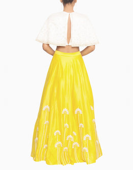 Off White Cape Blouse and Embroidered Yellow Lehenga